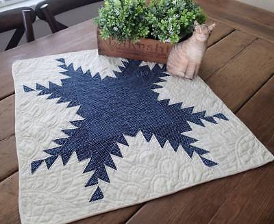 Beautiful! Antique c1860 Indigo Blue Feathered Star Table or DOLL QUILT 22x21
