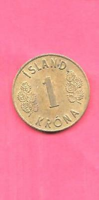 ICELAND KM12a 1966 VF-VERY FINE-NICE OLD VINTAGE KRONE COIN