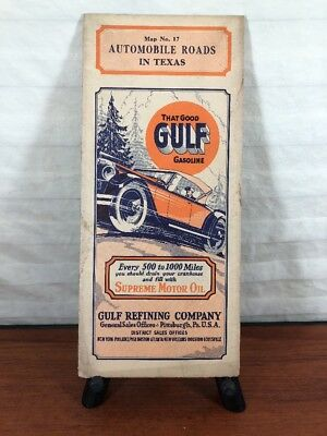 Vintage Gulf Gasoline Collectible 1920's Advertising Road Map Supreme Motor Oil