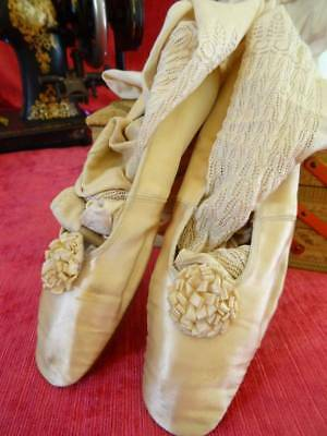 An Exquisite Pair Of Early Victorian Wedding Shoes & Stockings C.1850