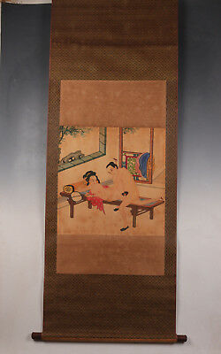 Drawing Xuan Paper Scroll Painting Men Women Love Postures Japanese Handmade