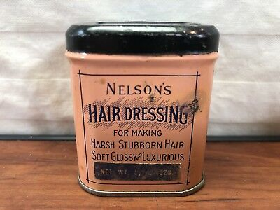 Vintage Barber Shop Collectible 1940's Nelson's Hair Dressing Advertising Tin