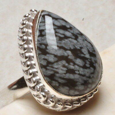 Natural Snowflake Obsidian Gemstone 925 Sterling Silver Plated Ring Sz 9