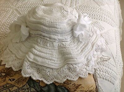 Antique French Christening Baby Bonnet Hat Victorian 1900 Edwardian Doll Bear