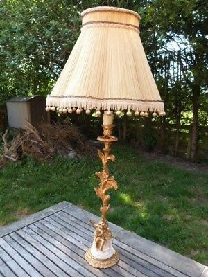 Tall Antique Vintage Rococo Style Gilt Metal & Marble Cherub Table Lamp & Shade.