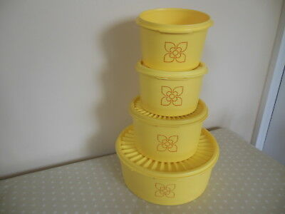 Vintage TUPPERWARE YELLOW HARVEST CONTAINERS x 4 with THREE FAN LIDS v.g.c.
