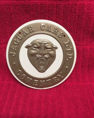 1950s WHEATIES CEREAL JAGUAR CARS COVENTRY METAL CAR BADGE - SUPER CONDITION !!