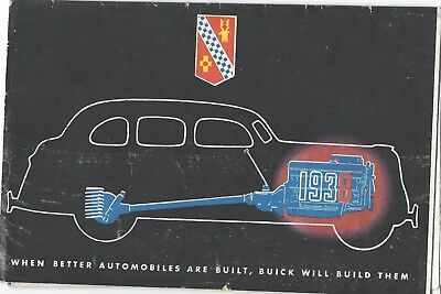 1938 Buick Showroom Dealer Salesman Brochure Booklet Leaflet Original