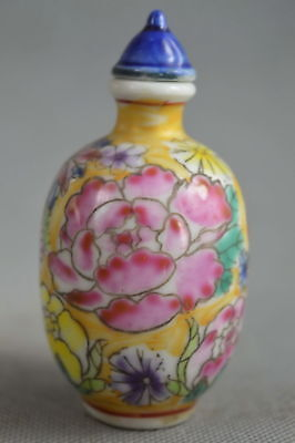 China Collectable Handwork Porcelain Paint Beauty Flower Lucky Rare Snuff Bottle