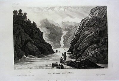 1840 - Yamuna Jumna Quelle Fluss Indien India Asien Asia engraving Stahlstich