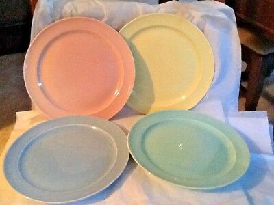 """Four LuRay T. S. T. Excellent Dinner Plates 10"""" Yellow Blue Green & Pink"""