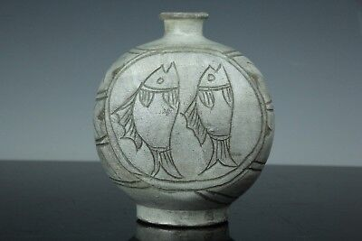 May251F Korean Late Joseon Pottery Pair Fish Design Scrapped Glaze Vase Bottle