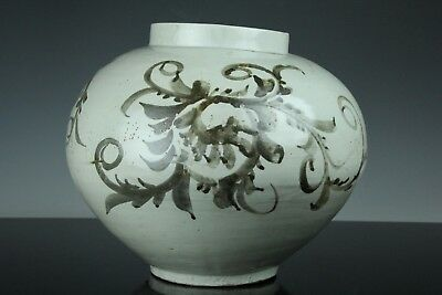 Apr195 Korean Late Joseon White Porcelain Iron Glaze Painting Big Pot Vase Jar