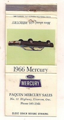 Paquin Mercury Sales, No. 11 Highway, Utterson ON Ontario 1966 Matchcover 051218