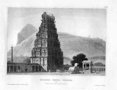 1850 - Hindustan Hindostan Temple India Stahlstich