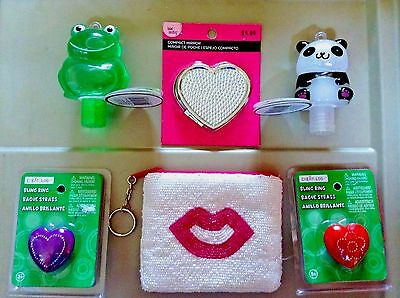 Purse Accessory Lot Bling Ring Jewelry Lips Zipper Pouch Mirror Hand Sanitizer