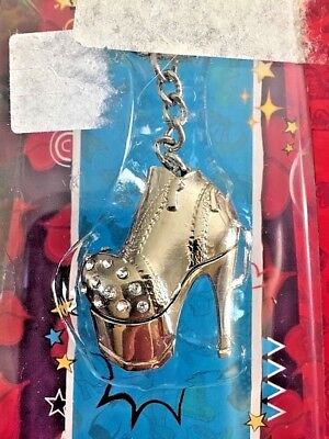 Bratz Doll Sparkly Charms Rhinestone Studded High Heel Shoe Bootie Keychain New