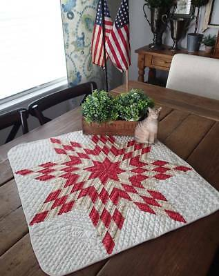 Farmhouse Perfect! Antique c1880s Red Tan & White Star Table or Crib Quilt 25x24