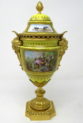French Sevres Porcelain Ormolu Mounted Urn Exceptional Quality 19th Ct.
