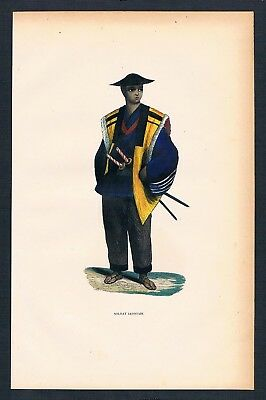 1840 Militaria Militär Military Japan Asien Asia costumes Trachten antique print