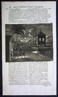 1726 - Tiger leopard hunting hunt Asia Indonesia Valentijn engraving map