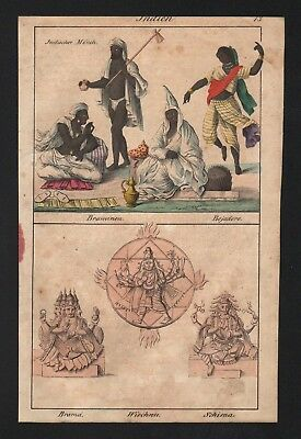 1830 - India Hindu Hinduism Brahma Vishnu Shiva Asia natives costumes Lithograph