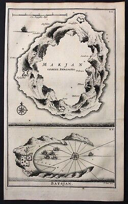 1726 Maluku islands Moluccas Bacan Makian Tafasoho Indonesia map Valentijn