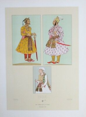 1880 - Tracht costumes Mogul Herrscher Indien India Lithographie lithograph