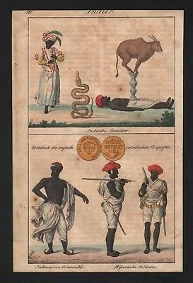 1830 - India Hindu Hinduism Gaukler Coromandel natives costumes Lithograph