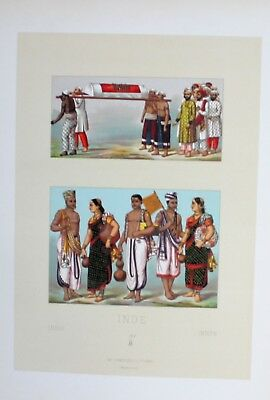1880 - Inder Paar couple costumes Tracht Indien India Lithographie lithograph