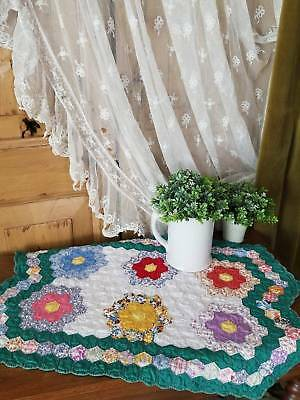 Authentic Vintage 30s Green Flower Garden Crib Doll or Table Quilt 29x19