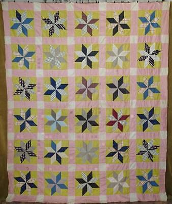 Expertly Handpieced Antique c1880 PA Calico Yellow Star QUILT TOP 89x73
