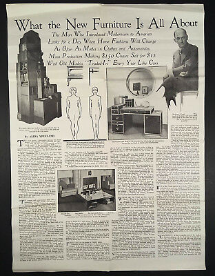 1929 PAUL FRANKL Poster Article Modernist Furniture NEW DIMENSIONS Book Review