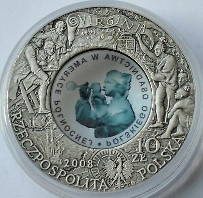 Poland 10 Zlotych, 2008, 400 years of Polish Settlement in Jamestown, America