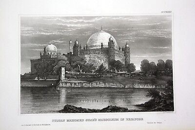 1840 - Beypore Mausoleum Sultan Mahomed Shah Indien India Asien Asia Stahlstich
