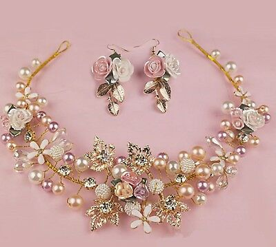 Women Wedding Bride gold leaf Rose Pearl Hair Headband Garland Hairpiece Earring