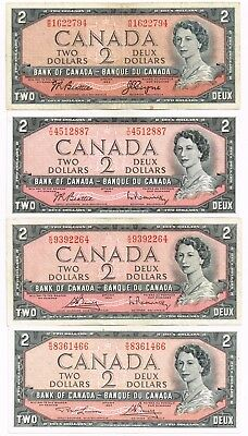 LOT OF FOUR 1954 (1955-75) CANADA TWO DOLLARS NOTES - p76a,b,c,d