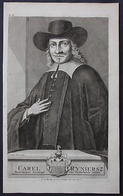 1726 Carel Reyniersz Governor East Indies Portrait engraving Valentijn Asia