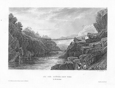 1840 - India Tiri River Indian Original Stahlstich engraving Indien