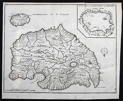 1726 Buru island Ambelau Maluku islands Indonesia map chart engraving Valentijn