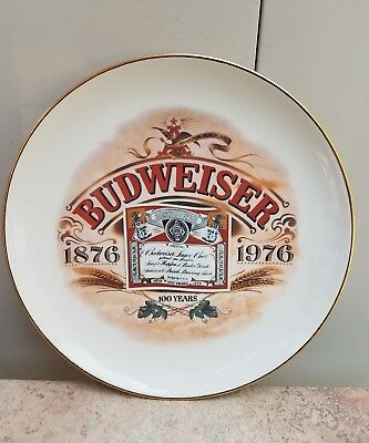 BUDWEISER 100th Anniversary Plate 1876-1976 Made in USA