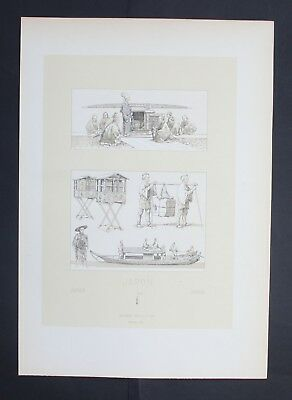 1880 - Japan Nippon Boot boat Sänfte Transport Asia Lithographie lithograph