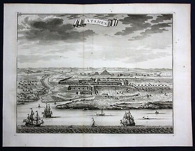 1726 Aceh Sumatra Indonesia Asia view map engraving Valentijn