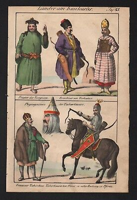 1830 - Tungusic people Turkestan Circassians Asia natives costumes Lithograph