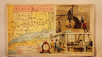 Arbuckles Coffee Card 1892 United States Map Connecticut