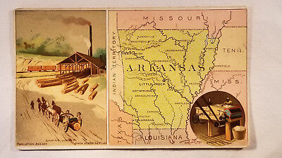 Arbuckles Coffee Card 1892 United States Map Arkansas & Indian Territory