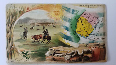 Arbuckles Coffee Card 1889 Map Brazil Uruguay