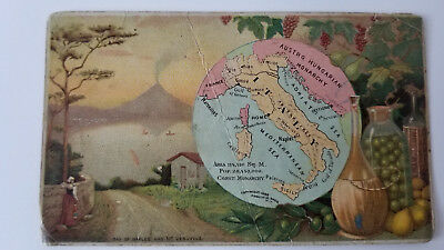 Arbuckles Coffee Card 1889 Map Italy