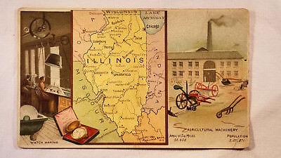 Arbuckles Coffee Card 1892 United States Map Illinois Agricultural Machinery