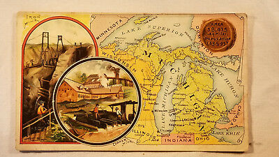 Arbuckles Coffee Card 1892 United States Map Michigan Iron Copper Mine